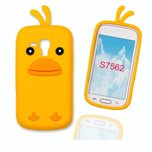 Silikoncase Hülle Etui Handytasche Handykondom Back Cover HÜHNCHEN / CHICKEN in gelb für Samsung Galaxy Trend GT-S7560 / Duos GT-S7562 / Plus GT-S7580 inkl. World-of-Technik Touchpen