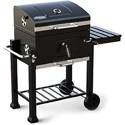 Kingsford 360-sq in Charcoal Grill, Foldable Side Shelf with Tool Hooks and Two Wheels, Black Paint Finish