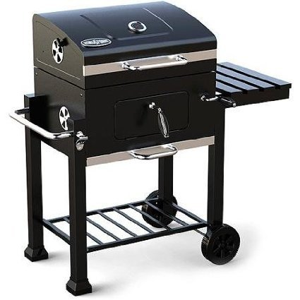 Read About Kingsford 360-sq in Charcoal Grill, Foldable Side Shelf with Tool Hooks and Two Wheels, B...