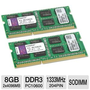 Kingston Technology 8GB Kit (2x4 GB Modules) 1333MHz DDR3 SODIMM Notebook Memory for Select Apple iMac's and Macbook Pro's KTA-MB1333K2/8G