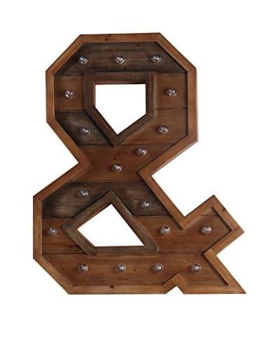 """""""&"""" LED Wooden Letter Board, Brown"""