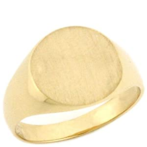 14K Solid Gold Round Signet Young Mens Boys Ring