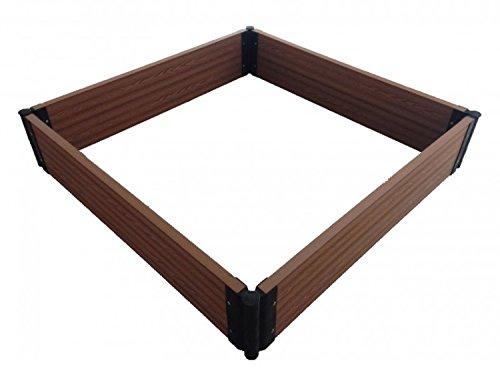 Sandkiste 140x140x15cm Sandkasten Holz Optik Sandbox Spielkasten Buddelkasten