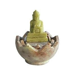 Porta inciensos esteatita-Buda en flor de loto