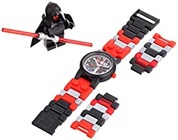 LEGO Kids\' Star Wars 8020332 Darth Maul Plastic Watch with Link Bracelet and Minifigure