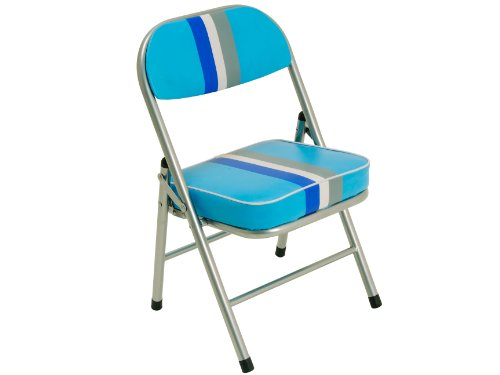 JIP PU Funky Stripes Childrens Folding Retro Chair, Blue
