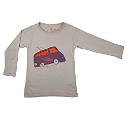 NeedyBee T-Shirt BUS Design Grey Long Sleeve Kids Organic Cotton Baby Boys and Baby Girls Tee Shirt for 2 - 9 Years
