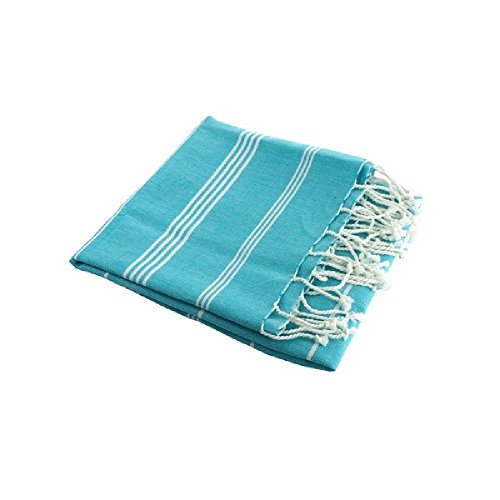 Karawan-authentic-Fouta-blanche-et-bleue-turquoise-coton-bio-Karawan-Fouta
