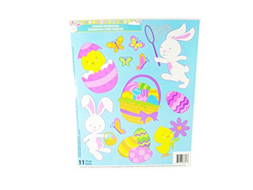 Easter Decorative Window Clings - Bunnies Baby Chicks & Easter Basket Theme - 11 Clings - 1