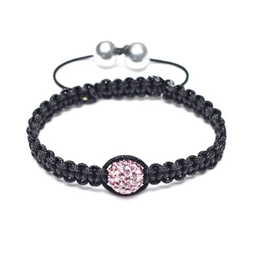 Bling Jewelry Childrens Shamballa Inspired Bracelet Light Pink Crystal Bead 10mm