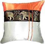 Artiwa Orange & Cream Throw Decorative Silk Pillow Cover 16x16 inch Large Thai Elephants Stripe - Gift Recommend