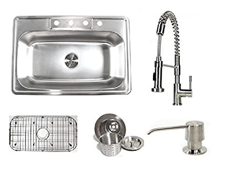 33 Inch Stainless Steel Top Mount Single Bowl Kitchen Sink and Ariel Coil Style Faucet Combo