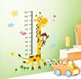 Toprate (TM) 23.6x17.7 Growth Chart Giraffe Monkey Height Chart Wall Vinly Decal Decor Sticker Removable,Super for Nursery Playroom Girls and Boys Children's Bedroom
