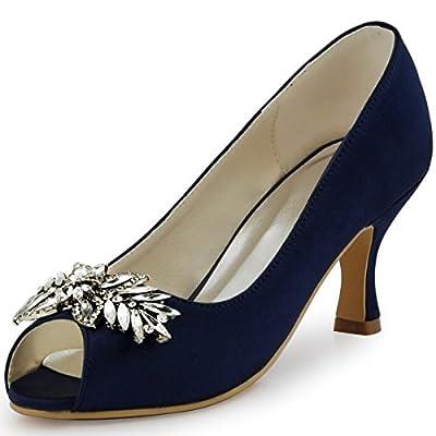 ElegantPark HP1540 Women Pumps Mid Heel Rhinestones Peep Toe Shoe-Clips Satin Wedding Bridal Shoes