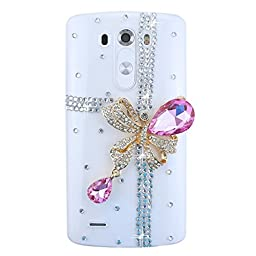 LG Leon Bling Case - Fairy Art Luxury 3D Sparkle Series Cross Bowknot Crystal Design Back Cover with Soft Wallet Purse Red Cloth Pouch - Pink