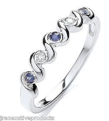 J R Jewellery 410809 9ct White Gold Real Sapphire & Diamond Swirl Eternity Ring