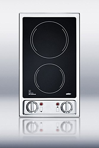 Summit CR2B120: 2-burner 120V electric cooktop with smooth black ceramic glass surface (Glass Top Electric Cook Top compare prices)