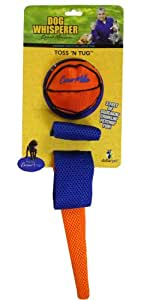 Romp! Dog Whisperer with Cesar Millan Toss N Tug, Sport Ball Flinger with Mesh Crinkle Tail Dog Toy (Colors Vary)
