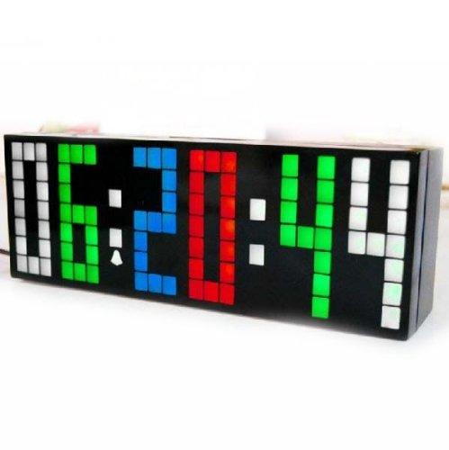 Ecvision 2 Generation Digital Large Big Number Jumbo Led Snooze Wall Desk Alarm Clock Countdown Multiple Alarm Calendar Weather Clock -Option 4 Corlors Changing Light