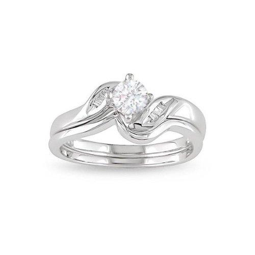 0.58 CaratRound cutDiamondWedding Bridal Ring Set On14k WhiteGold