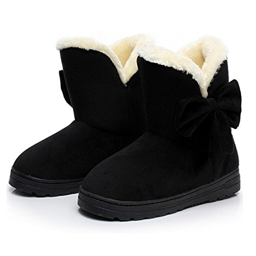 Minetom Donna Un Arco Alto Pelliccia Classico Autunno Inverno Neve Stivali Snow Boots ( Nero EU 38 )
