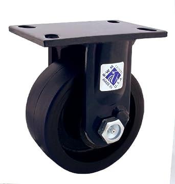 RWM Casters 75 Series Plate Caster, Rigid, Kingpinless, Phenolic Wheel
