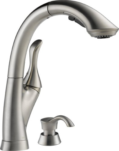 Delta 4153-SSSD-DST Linden Single Handle Pull-Out Kitchen Faucet with Soap Dispenser, Stainless