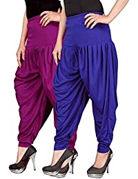 Navyataa Women's Lycra Dhoti Pants For Women Patiyala Dhoti Lycra Salwar Free Size (Pack Of 2) Purple & Blue