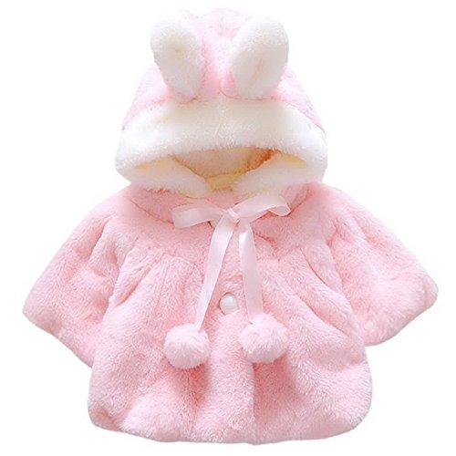 Kids Girls Sweet Faux Fur Cape with Satin Tie Weeding Winter Warm Fleece Jacket Sweatshirt Outerwear for 2-3 Years Old Pink