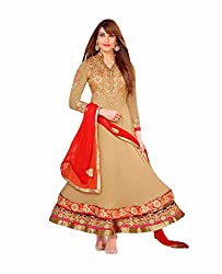Amyra Women's Georgette Dress Material (AC700-02, Beige)