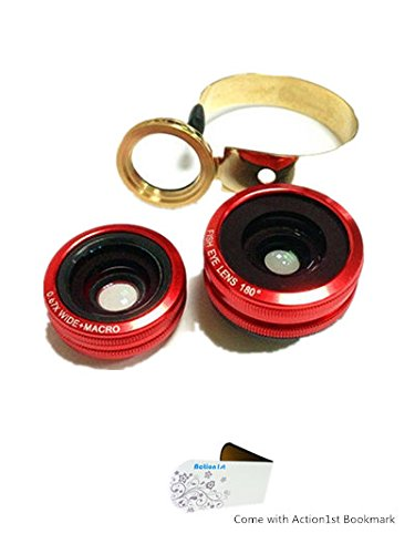 Action1St Aluminum 3 In 1 Universal Circle Clip Lens Fisheye+Wide Angle+Macro For Most Mobile Phone Iphone 4 4S 5 5S 5C Samsung Galaxy S2 S3 S4 S5 Note 1 2 3 4 Htc One Blackberry Nokia Lenovo Sony Xperia, Ipad Ipod Android Tablet Laptops Pc (Red)