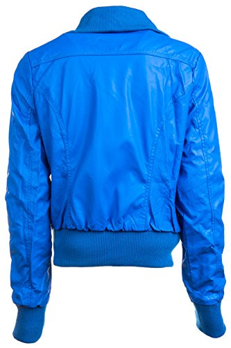 Ragstock Women's Faux Leather Moto Jacket, Blue Perf-Medium