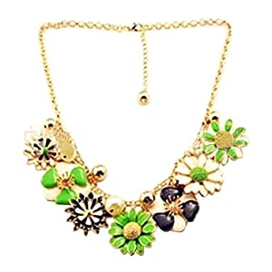Yasson Ivory and Gold Pearl with Green and Black Flower Daisy Chain Choker Statement Necklace