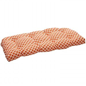 Pillow Perfect 44 x 19 Outdoor Geometric Wicker Loveseat Cushion Size-Color - 44 - Orange/White from Pillow Perfect Inc
