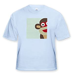 Sock Monkey Peeking Around Corner - Cute Animal Art - Adult Light-Blue-T-Shirt Medium