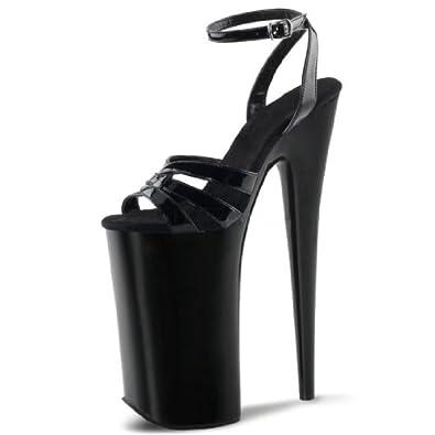 shiny black platform high heels with
