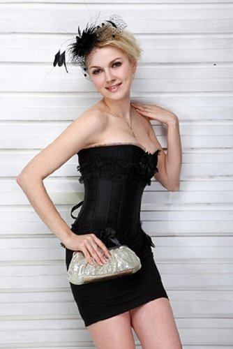 Beautiful Black Lace Burlesque moulin rouge satin corset with black basques, size 6,8,10,12,14,16,18,20,22