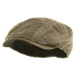 MG Men\'s Plaid Ivy Newsboy Cap Hat (Brown, Small)