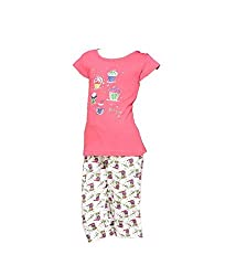 Sonrie Girl's Cotton Night Dress(1005_5-6years_Multi colour)