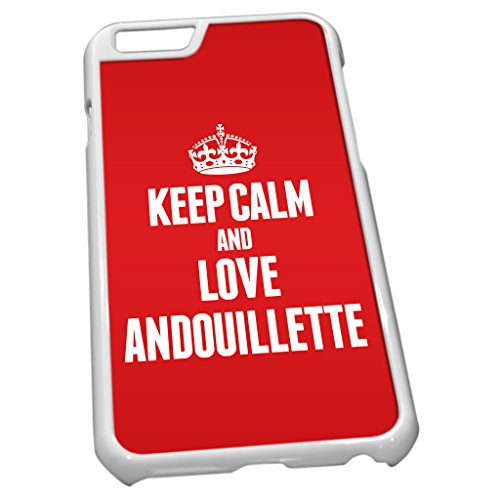 Blanc Coque pour iPhone 6tissu rouge Keep Calm and Love Andouillette