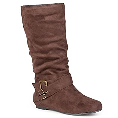 Journee Collection Womens Regular Sized and Wide-Calf Buckle Slouch Mid-Calf Boot Brown 5.5