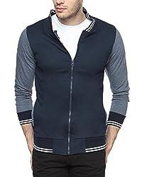 Campus Sutra Navy Blue Mens cotton Varsity Sweatshirt with Pocket
