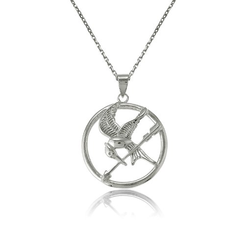 Sterling Silver The Hunger Games-Inspired Mockingjay Pendant with Chain