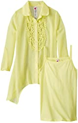 Beautees Big Girls' Tab Sleeved Chiffon Top with Crochet Placket