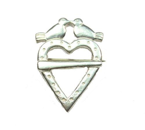 Sterling Silver Heart with Two Doves Brooch