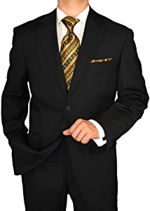 Giorgio Napoli Men's Two Button Jacket Flat Front Pants Black Suit