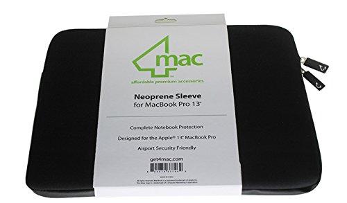 "4Mac Neoprene Sleeve Zipper Case Pouch Bag for All 13"" Macbook Pro Sleeve / Macbook Unibody / Macbook Air / Ultrabook / Pro Retina Sleeve Black"