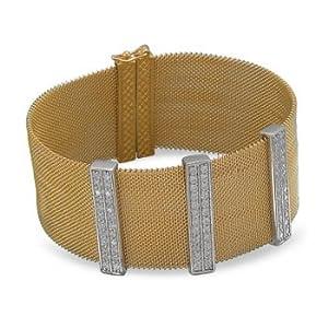 6.75 Inch 14 Karat Gold Plated Mesh Bracelet With CZs - JewelryWeb