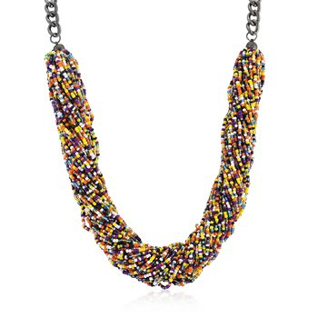 Hematite Bonded to a Lead Free Alloy Base Metal 20 Inch Multi-color Acrylic Bead Twisting Necklace in Black Tone