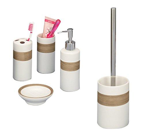 Bad-Accessoire-Set-4-teilig-Keramik-beige-braun-Badezimmer-Seifenspender-WC-Brste-Zahnpflege-Zubehr